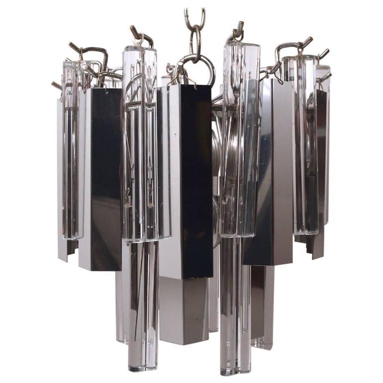 Unusual Venini Glass and Chrome Chandelier
