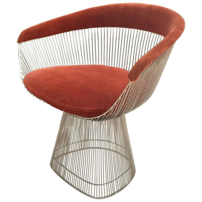 Superbe Warren Platner For Knoll Mid Century Modern Accent Wire Chair For Sale