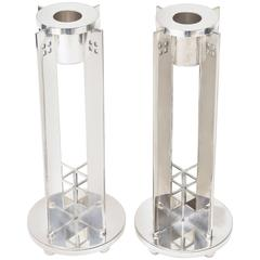 Pair of Architectural Richard Meier for Swid Powell Silver Plate Candlesticks