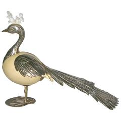 Antonio Pavia 1970s Italian Silver Plated Bird Sculpture with White Coral