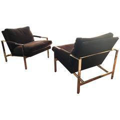 "Pair of Milo Baughman for Thayer Coggin ""Brass"" Flat Bar Lounge Chairs"