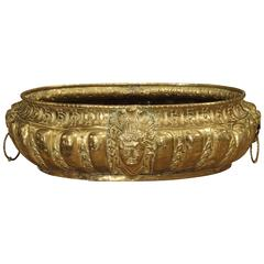 Large Antique Brass Jardiniere from France, circa 1860