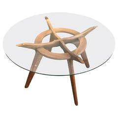 "Adrian Pearsall Walnut and Glass ""Compass"" Dining Table"
