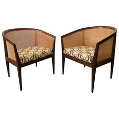 Kipp Stewart for Directional Pair of Cane and Walnut Chairs