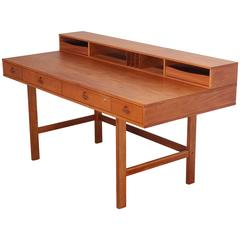 Danish Lovig Teak Wood Desk Flip Top, 1970s