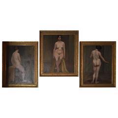 Set of Three 19th Century Nude Parisian Women