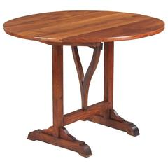 19th Century French Cherrywood Tilt-Top Wine Tasting Table