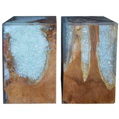Pair of Wood Stools Encased in Resin