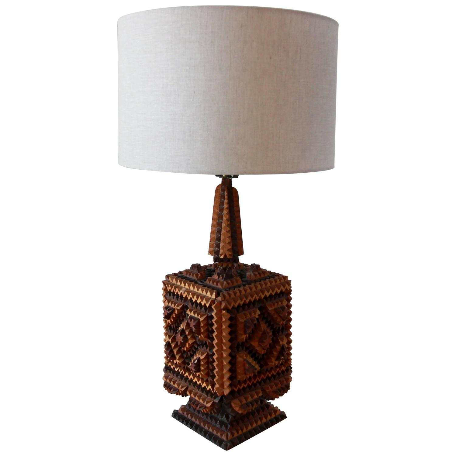 wood tramp table lamp for sale at 1stdibs. Black Bedroom Furniture Sets. Home Design Ideas