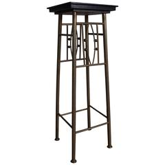 Rare Viennese Secession Plant Stand with Black Glass Top Koloman Moser Style