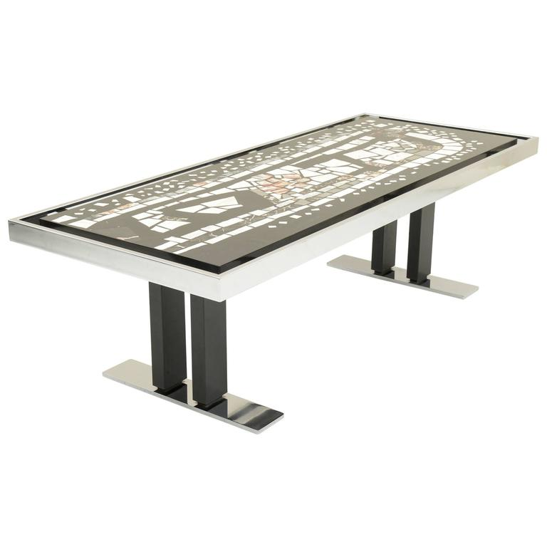 stylish coffee table marble mosaic top and chromed metal structures italy for sale at 1stdibs. Black Bedroom Furniture Sets. Home Design Ideas