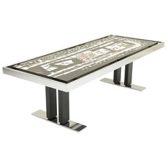 Stylish Coffee Table, Marble Mosaic Top and Chromed Metal Structures, Italy