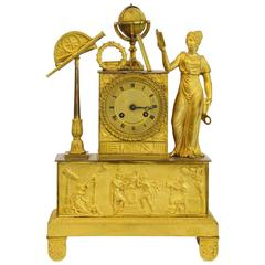 18th Century French Neoclassical Ormolu Pendulum Clock Astronomical Allegory