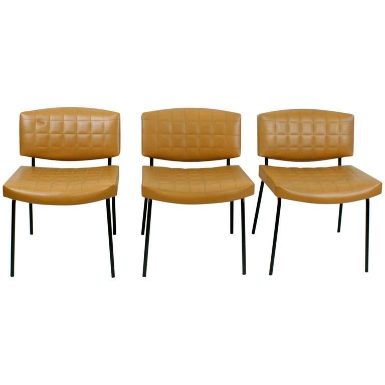 Set of Three Midcentury Chairs Designed by Pierre Guariche for Meurop