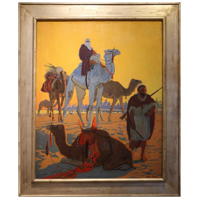 """Exceptional Oil Painting """"Les Touaregs"""" by Léon Carré, France, Art Deco, 1921 For Sale"""