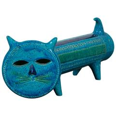 """Rimini Blue"" Bitossi Ceramic Cat"