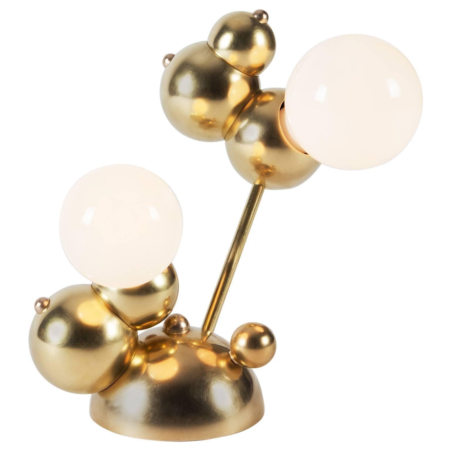 Bubbly 02-Light Table, Modern Molecule Sculptural Table Lamp, Satin Brass