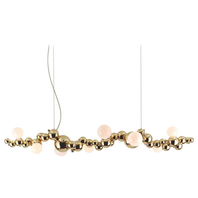 Bubbly 08 Light Linear, Modern Molecule Sculptural Chandelier, Polished Brass