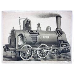 Rare Wall Chart, Locomotive, 1912