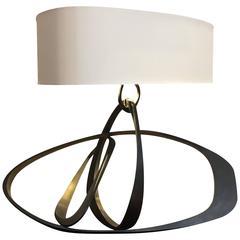 Herve Van Der Straeten Black and Gold Patinated Bronze Table Lamp