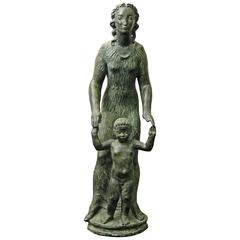 """Mother and Son,"" Large, Tender Art Deco Sculpture by Sir Charles Wheeler"
