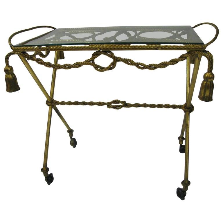 Italian Mid-Century Gilt Rope and Tassel Bar Cart For Sale