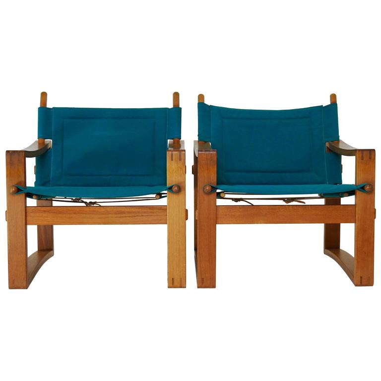 Pair of Mid Century Teal Lounge Chairs with Leather Straps at 1stdibs