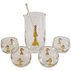 Mid-Century Hickok Checkmate Glass Martini Cocktail Set
