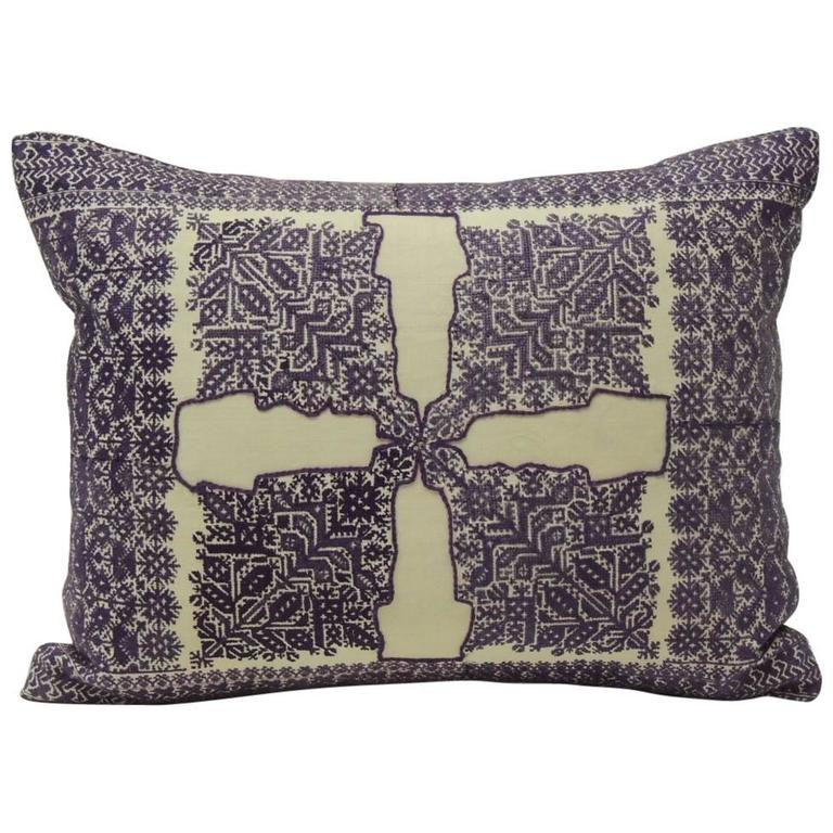 fez embroidery purple decorative lumbar pillow for sale at 1stdibs