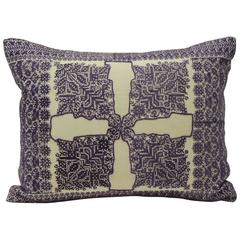 19th Century Fez Embroidery Purple Decorative Lumbar Pillow