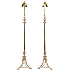 Pair of Silver Plated Floor Lamps