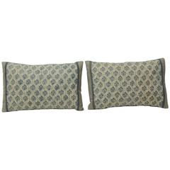 Pair of 1940s Italian Blue and White Fortuny Lumbar Decorative Pillows