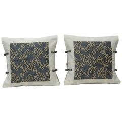 Japanese Vintage Blue and Gold Woven Silk Double-Sided Decorative Pillow, Pair