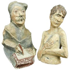 Ancient Folk Work, Pair of Painted Plaster Grotesques Characters