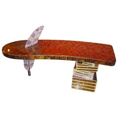 Mosaic Desk with Feather Covered of Old Glass Beads