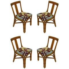 Four Bamboo Armless Dining Height Chairs, USA, circa 1955