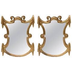 Pair of Unusual Shaped Gilt Italian Mirrors