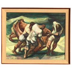 "Francis De Erdely Watercolor and Pencil ""Mexican Shark Fisherman"""