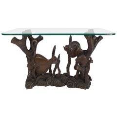 Vintage Bronze and Glass Top Console Table