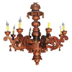 Large Sixteen Light, Eight Arm Baroque Style Theatre Chandelier Carved Wood
