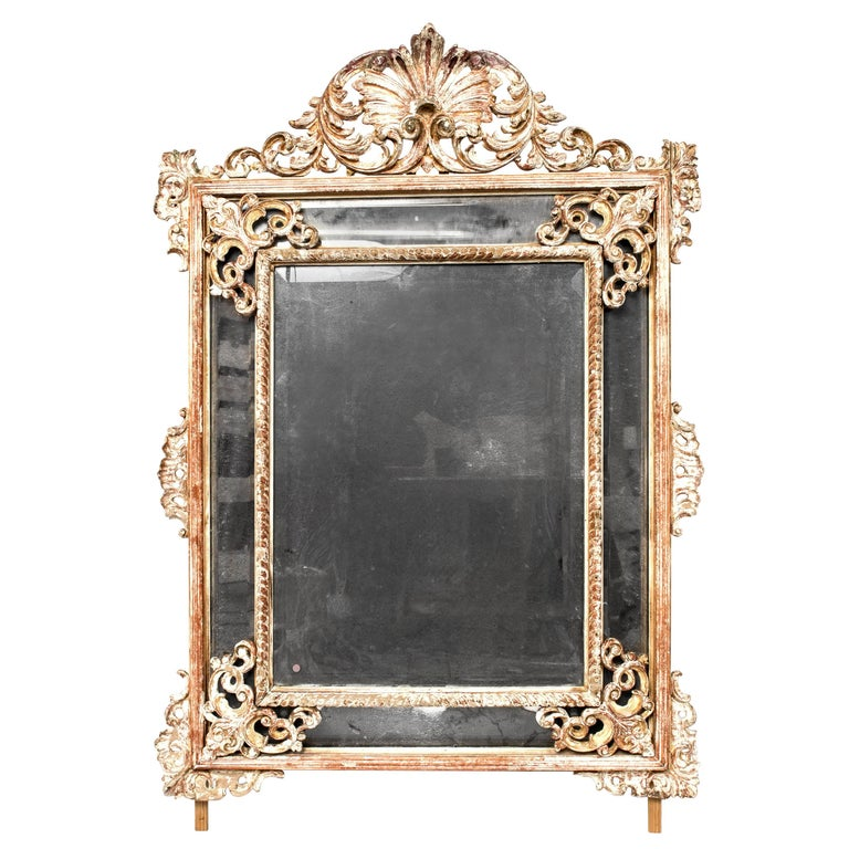 Large Carved Wood Mirror For Sale