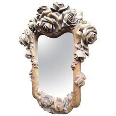 Masterly Carved Wood Art Wall Mirror Frame with Roses Blooming Flowers Design