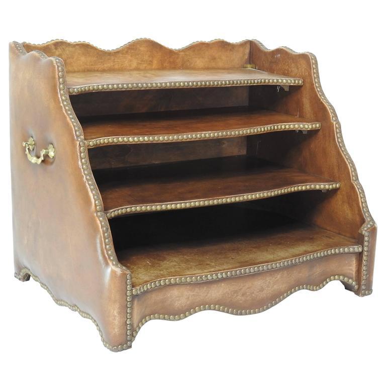 Tierd Brown Leather Desk Organizer With Brass Stud Trim For