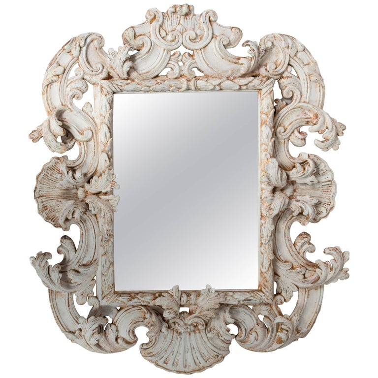 White Painted and Carved Wood Rococo Mirror