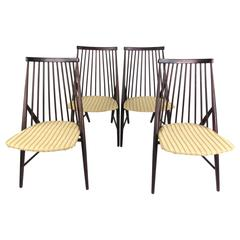 Set of Mid-Century Spindle Back Dining Chairs in the Style of Alf Svensson
