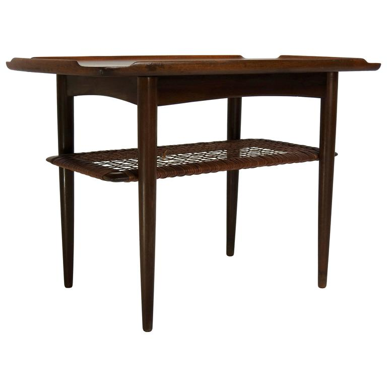 Mid Century Danish Side Table With Woven Shelf By Selig For Sale