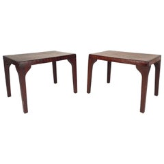Mid-Century Modern Alligator Embossed Leather Top End Tables