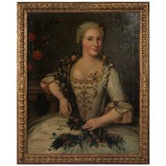 Original Antique 19th Century Oil Painting Portrait of a Young Lady