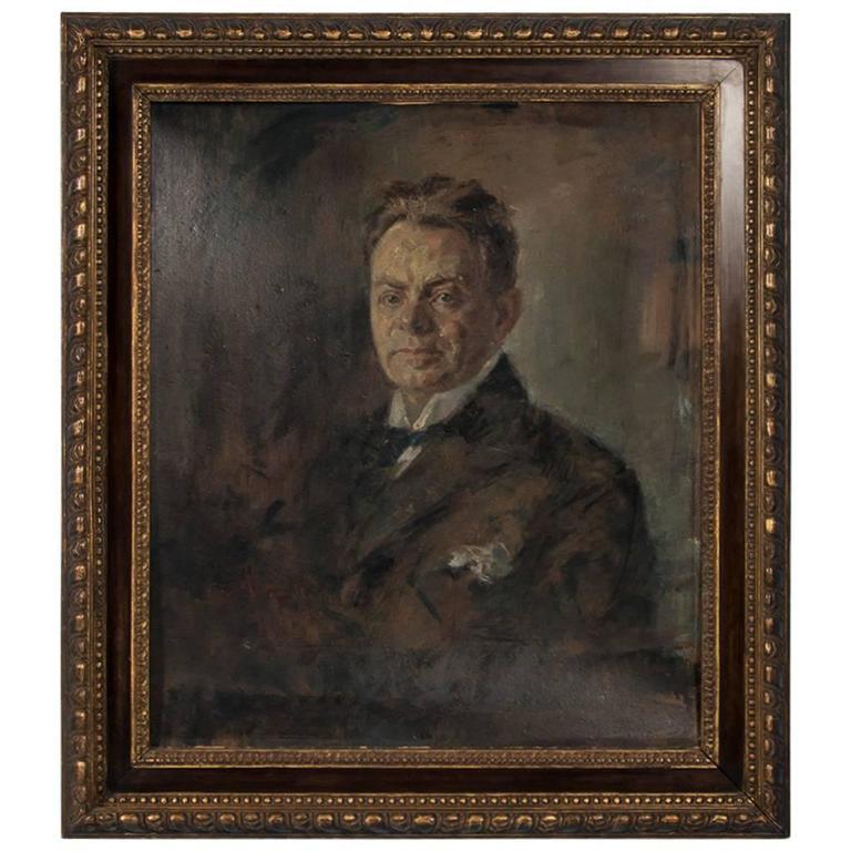 Original Antique Oil on Canvas Painting Portrait of a Gentleman