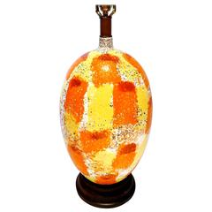 Striking Large and Colorful, 1960s, Italian, Ceramic Lamp in Walnut Base
